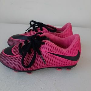 Girls pink and black Nike soccer cleats size 10c
